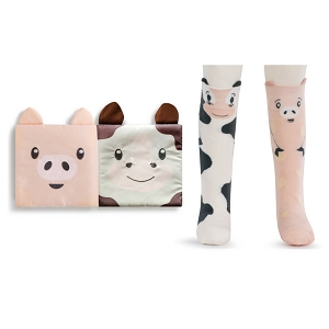 Cow & Pig Book & Sock Gift Set