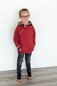 DoubleHood™ Kids Sweatshirt - Cranberry Plaid