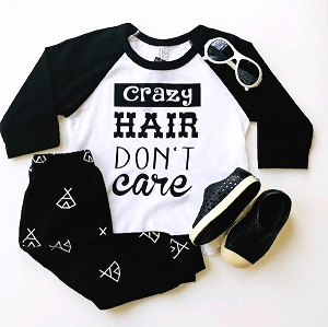 Crazy Hair Don't Care Baseball Tee