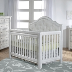 Pali Cristallo Forever Crib - Vintage White with Leather Panel