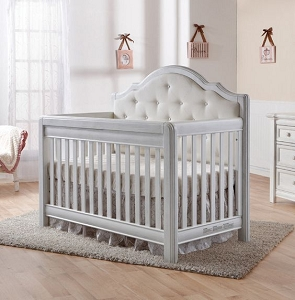 Pali Cristallo Forever Crib - Vintage White with Fabric Panel