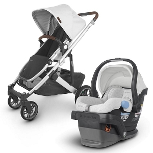 2020 UPPAbaby Cruz V2 Stroller & Mesa Car Seat- Bryce (White Marl/Silver/Chestnut Leather)