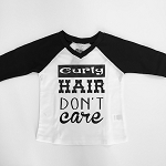 Curly Hair Don't Care Baseball Tee