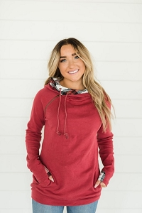 DoubleHood™ Sweatshirt - Cranberry Plaid
