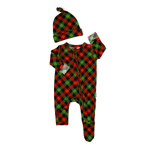 Paxton Plaid Romper and Hat