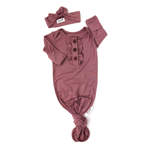Ruffle Knotted Gown & Headband - Mauve