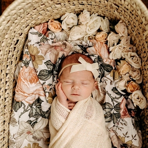 White Garden Floral Swaddle