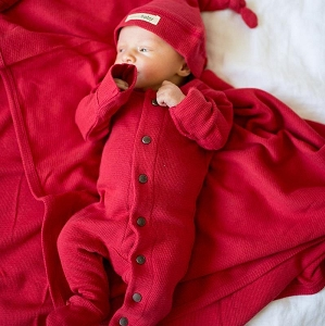 Organic Thermal Long Sleeve Overall Set - Ruby