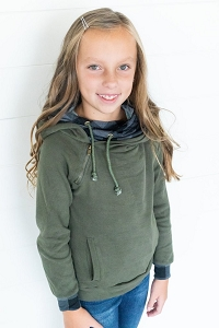 DoubleHood™ Kids Sweatshirt - Evergreen Plaid