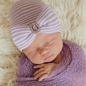 Lavender and White Striped Newborn Beanie