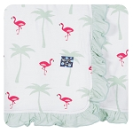 Kickee Pants Ruffled Stroller Blanket - Natural Flamingo