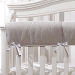 Liz and Roo Crib Rail Cover - Flax Linen with White Trim