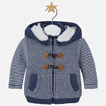 Baby Boy Fleece Hoodie with Lamb Wool - Denim Blue