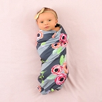 Blush + Blue Personalized Swaddle Blanket - Floral Stripe