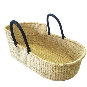Ghana Moses Basket - Black Leather