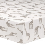 Liz and Roo Crib Sheet - Giraffe Taupe