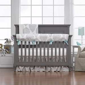Liz and Roo Harper Taupe & Aqua Bedding