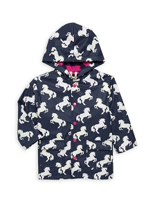 Hatley Color Changing Rain Coat - Playful Horses