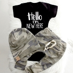 Hello I'm New Here Onesie - Black & White