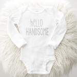 Hello Handsome Onesie - White & Grey