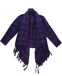 RuffleButts Plaid Cardigan - Plum & Navy