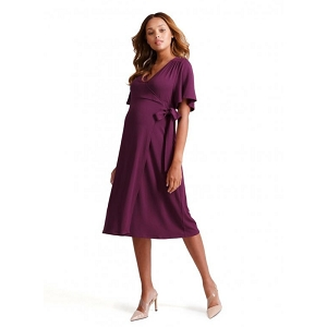 Flutter Sleeve Knit Wrap Dress - Plum