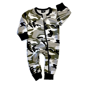 Camo 2 Way Zip Romper