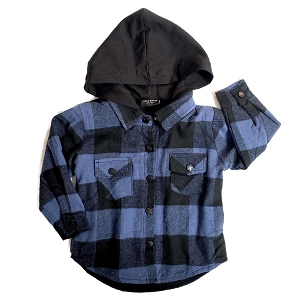 Hooded Plaid Flannel- Blue & Black