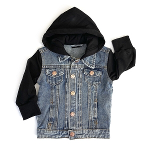 Black Hooded Denim Jean Jacket