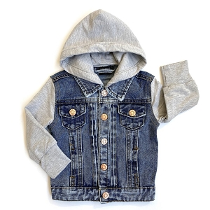 Grey Hooded Denim Jean Jacket