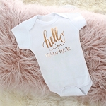 Hello I'm New Here Onesie - Rose Gold