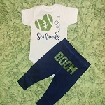 I Heart the Seahawks Glitter Onesie