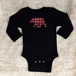Buffalo Plaid Bear Long Sleeve Black Onesie