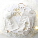 Believe In The Magic Onesie - Gold Glitter