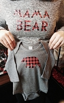 Buffalo Plaid Bear Long Sleeve Grey Onesie