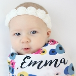 Personalized Swaddle Blanket - Floral Bouquet