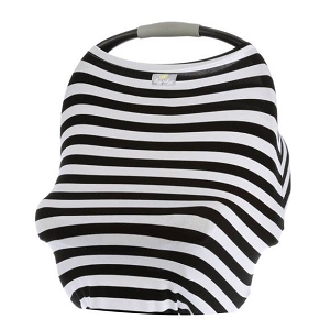 Mom Boss Multi Use Cover - Black & White Stripe