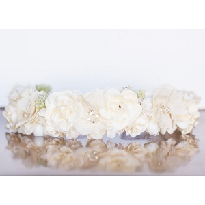 Silky Ivory Flower Crown