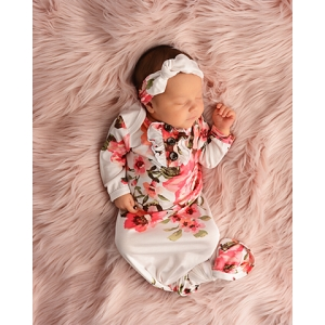 Knotted Gown & Headband Set - Ivy Floral