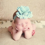 Teal Flowerette Burst with Teal Rose Headband