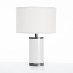 Oilo White Table Lamp with Gun Metal Finish