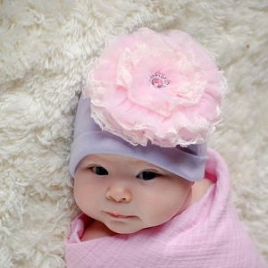 Lavender Hat with Pale Pink Lace Rose