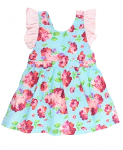 RuffleButts Life is Rosy Pinafore Dress
