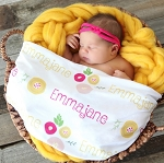 Personalized Swaddle Blanket - Baby Blossoms