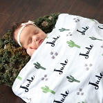 Personalized Swaddle Blanket - Prickly Party