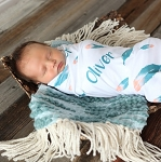 Personalized Swaddle Blanket - Feather Blue