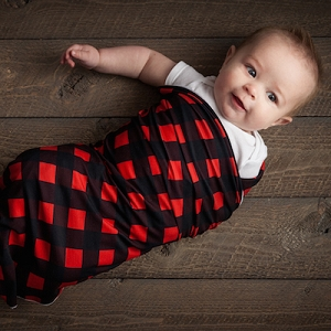 Blush + Blue Swaddle Blanket - Buffalo Check Red