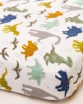 Little Unicorn Muslin Crib Sheet - Dino Friends