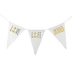 Live Life Anchored Canvas Banner - Gold & Grey