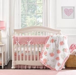 liz and roo pink peony crib bedding set - Baby Girl Bedding